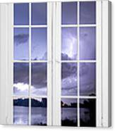 Old 16 Pane White Window Stormy Lightning Lake View Canvas Print