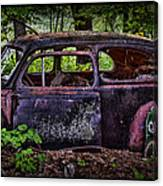Old Abandoned Car In The Woods Canvas Print