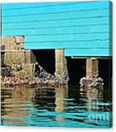 Old Aqua Boat Shed With Aqua Reflections Canvas Print