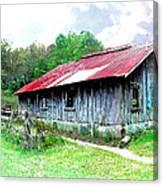 Old Barn Along Golden Road Filtered Canvas Print