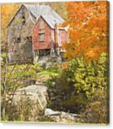 Old Barn And Dam In Autunm Vienna Maine Canvas Print