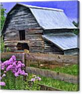 Old Barn And Flowers Canvas Print