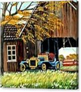 Old Barn And Old Car Canvas Print
