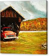 Old Barn And Red Truck Canvas Print