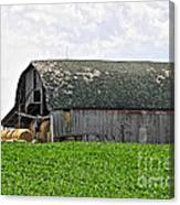Old Barn And Round Bales Canvas Print