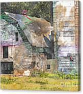 Old Barn And Silos Digital Paint Canvas Print