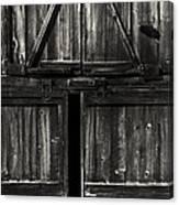 Old Barn Door - Bw Canvas Print