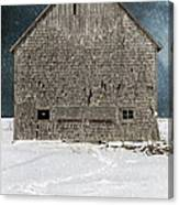 Old Barn In A Snow Storm Canvas Print