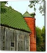 Old Barn With Brick Silo II Canvas Print