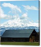 Old Barn With Mount Rainier View Canvas Print