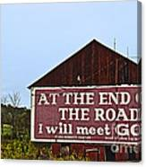 Old Barn With Religious Sign Canvas Print