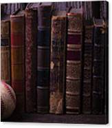 Old Baseball And Books Canvas Print