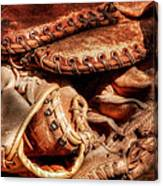 Old Baseball Gloves Canvas Print