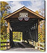 Old Bedford Village Covered Bridge Entrance Canvas Print