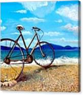 Old Bike At The Beach Canvas Print