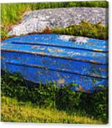 Old Blue Boat Canvas Print
