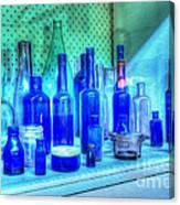 Old Blue Bottles Canvas Print