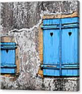 Old Blue Shutters Canvas Print