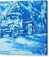 Old Blue Truck Canvas Print