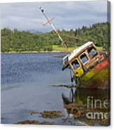 Old Boat In The Loch  Canvas Print