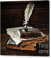 Old Books And A Quill Canvas Print