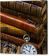 Old Books And Pocketwatch Canvas Print
