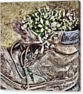 Old Boot Flowerpot Canvas Print