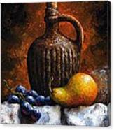Old Bottle And Fruit II Canvas Print