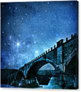 Old Bridge Over River Canvas Print