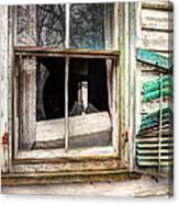 Old Broken Window And Shutter Of An Abandoned House Canvas Print