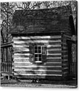 Old Cabin At Fort Washita In Bw Canvas Print