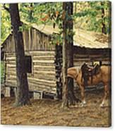 Log Cabin - Back View - At Big Creek Canvas Print