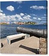 Old Cannon And Queen Juliana Bridge Curacao Canvas Print