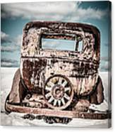 Old Car In The Snow Canvas Print
