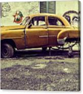 Old Car/cat Canvas Print