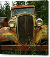 Old Cars Left To Decorate The Weeds Canvas Print