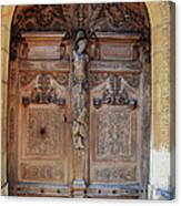 Old Carved Church Door Canvas Print