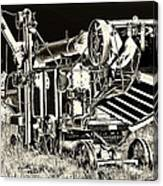 Old Case Thresher - Black And White Canvas Print