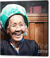 Old Chinese Zhuang Minority  Lady Smiling China Canvas Print