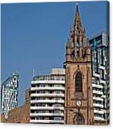 Old Church Amongst New High Rise Modern Apartments Canvas Print
