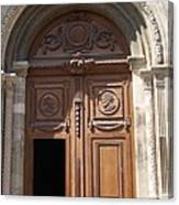 Old Church Door Cathedral Autun Canvas Print