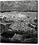 Old City Of Toledo Bw Canvas Print