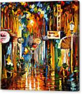 Old City Street - Palette Knife Oil Painting On Canvas By Leonid Afremov Canvas Print