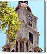 Old Clock Tower In Rhodes City Greece Canvas Print