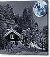 Old Cottage And Landscape With A Full Moon Canvas Print