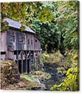 Old Creek Grist Mill In Autumn Canvas Print