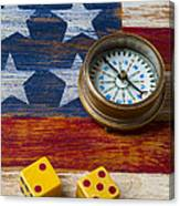 Old Dice And Compass Canvas Print