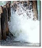 Old Dock Pilings Beaten By Waves Canvas Print