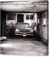 Old Dodge Car In Garage Canvas Print