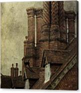 Old English House With Cat Canvas Print